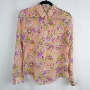 Xhilaration Tops - Pretty Pink Floral Button Down Blouse